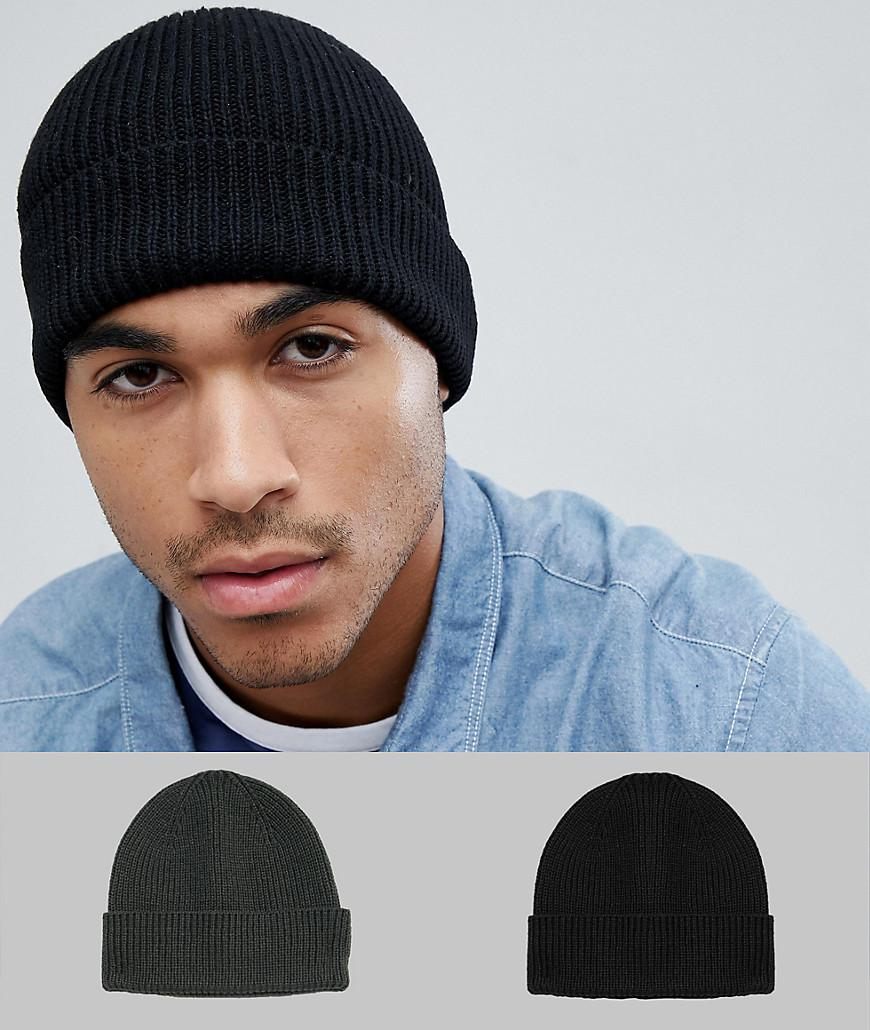 3d6069208b4 Asos Fisherman Beanie 2 Pack In Black   Olive Recycled Polyester ...