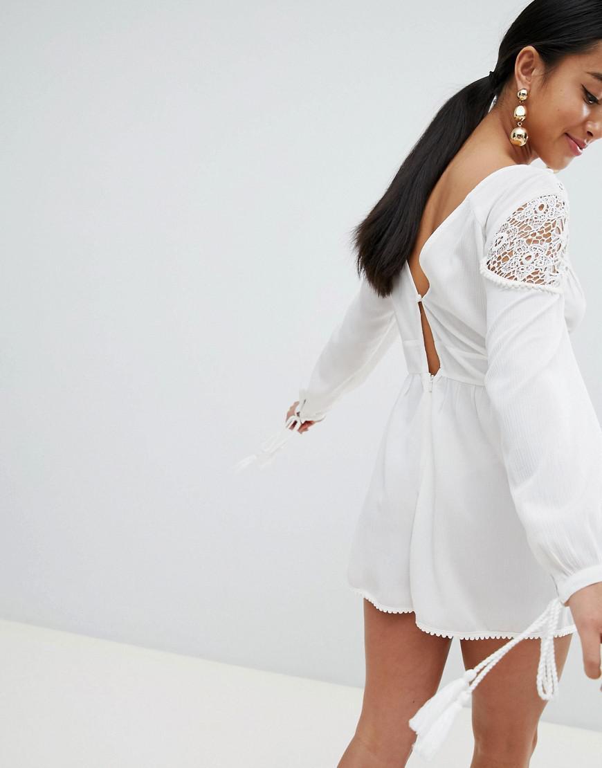 88b2cfce48 Lyst - ASOS Asos Design Petite Lace Insert Playsuit in White