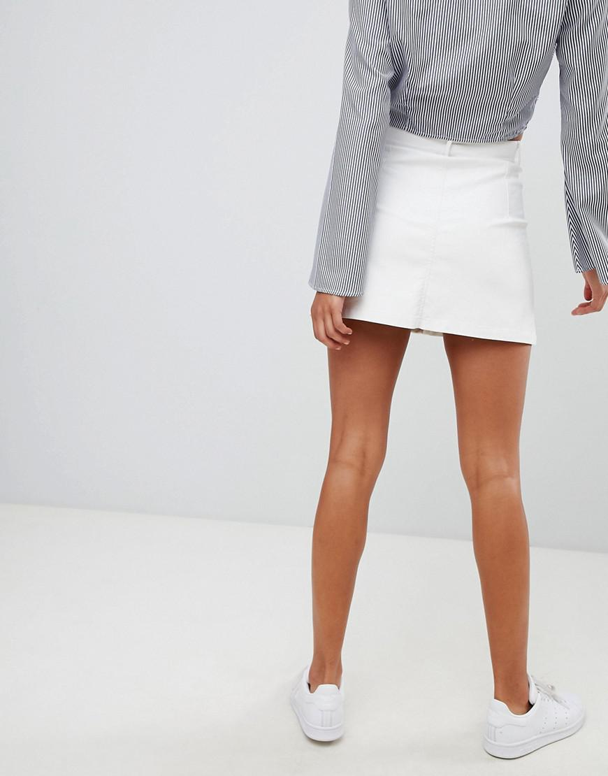 f81d0cc7a074 PrettyLittleThing Coated Button Down Denim Skirt in White - Lyst