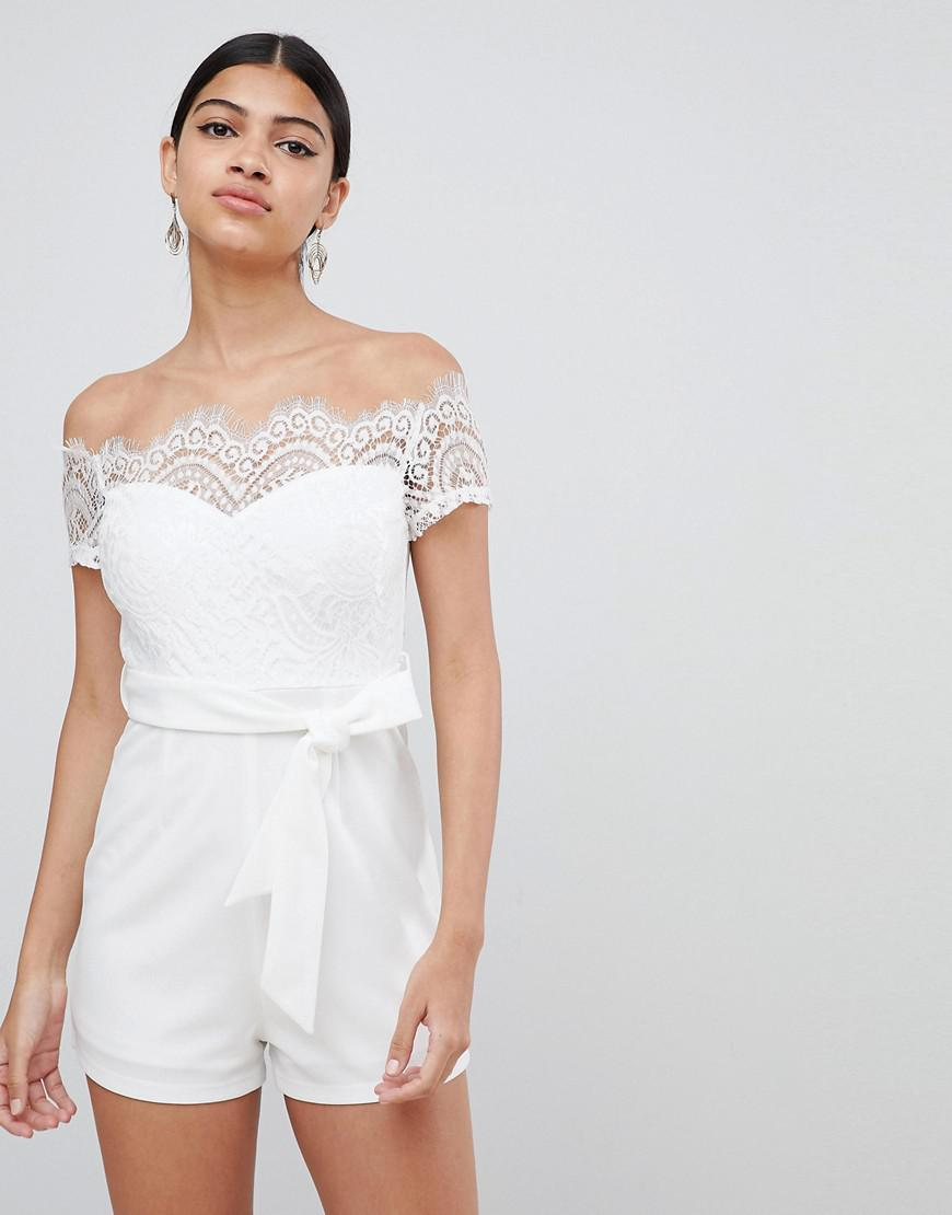 27632f18df29 Lyst - Love Triangle Lace Top Bardot Playsuit With Tie Waist in White