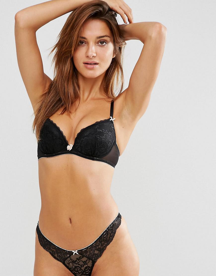 9dd56368a2 Ann Summers Sexy Lace Plunge Bra in Black - Lyst