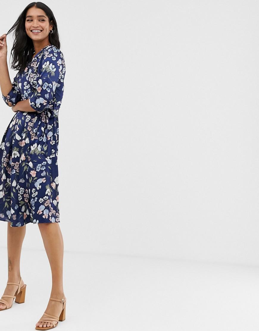 290a188a14fd7 Liquorish. Women's Blue Midi Wrap Dress With Tie Waist In Navy Floral Print
