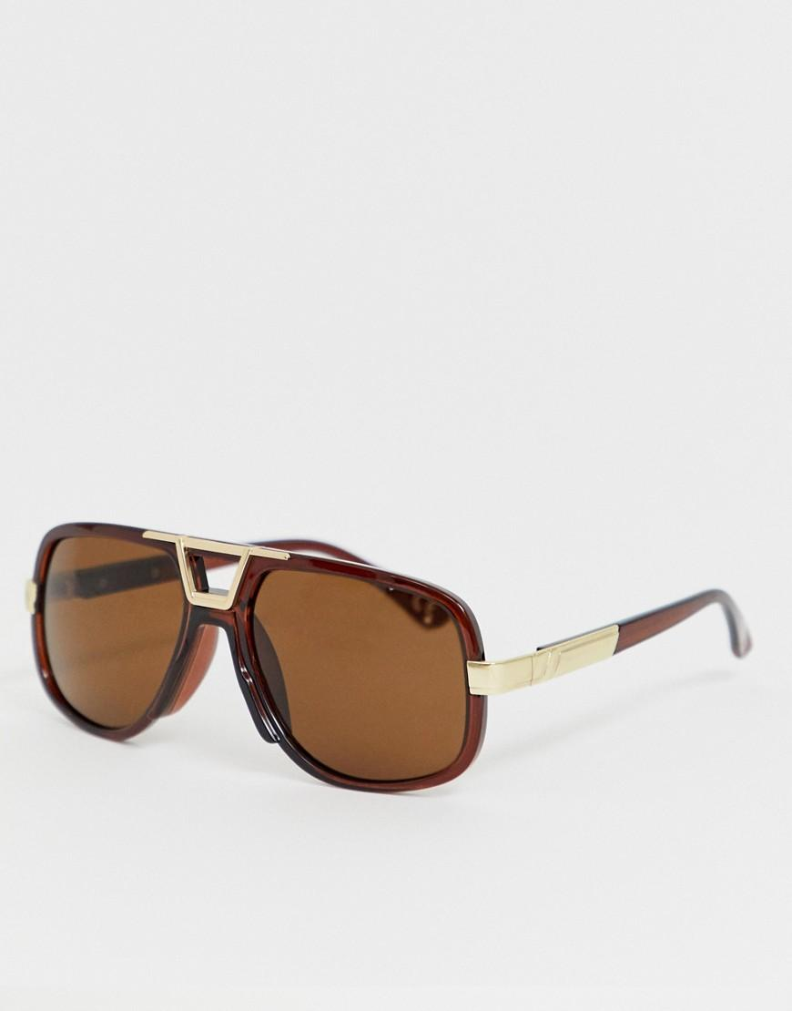 5318875e6ddd ASOS Aviator Sunglasses In Crystal Brown With Gold Details in Brown ...