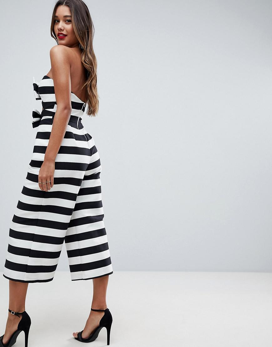 a76231320c9 Lyst - ASOS Asos Bow Jumpsuit In Structured Fabric In Stripe in Black