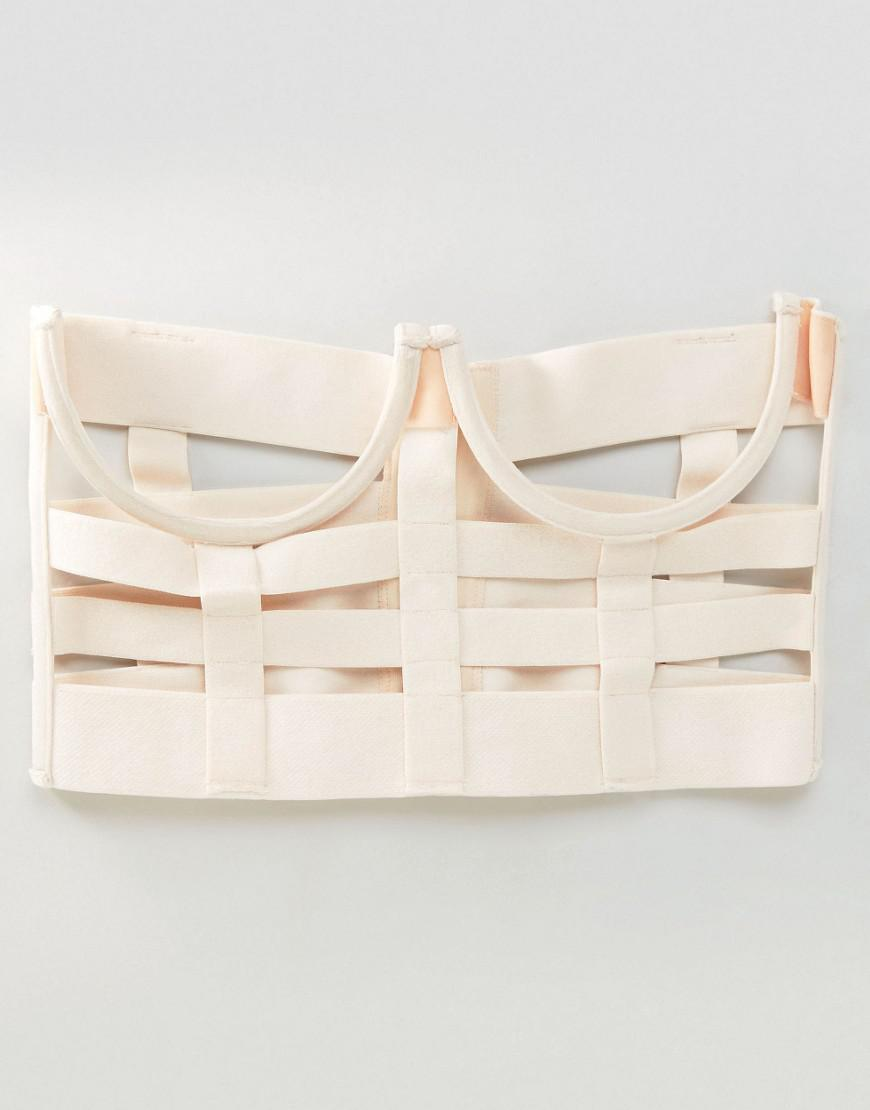 3694f048d5b Lyst - ASOS Teagen Strappy Underwired Corset in Natural