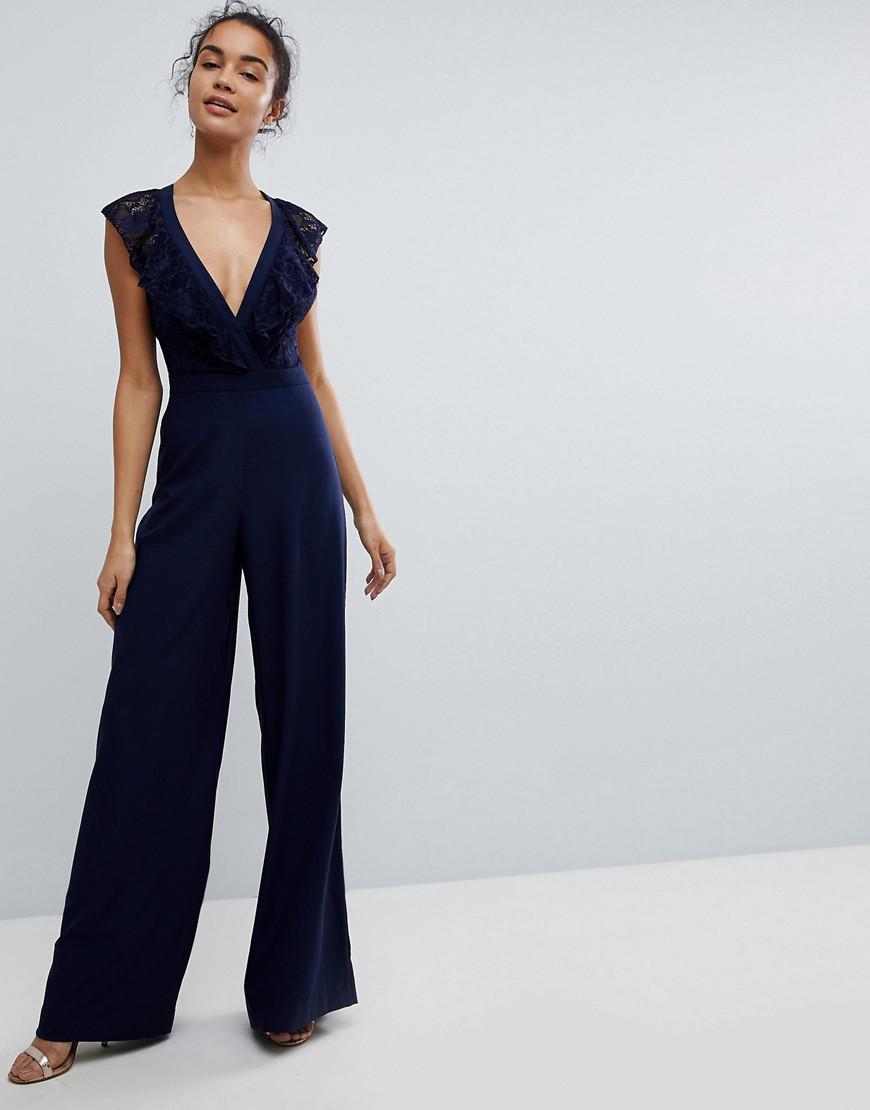 81ea483cec0 Asos Asos Wrap Lace Jumpsuit With Wide Leg in Blue - Lyst