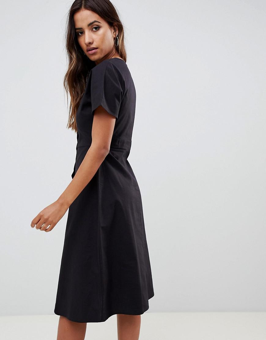 b356d5a130 ASOS Button Through Midi Casual Skater Dress in Black - Lyst