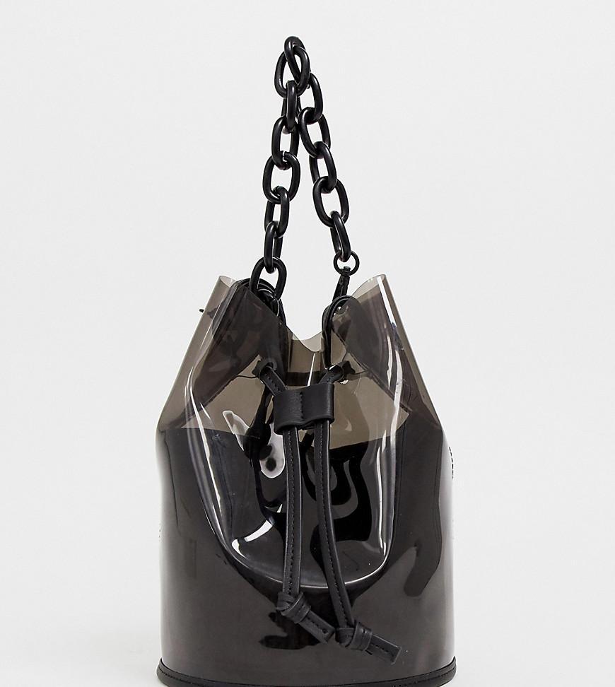 9f029182d9b18 Bershka Plastic Chain Handle Bag In Black in Black - Lyst
