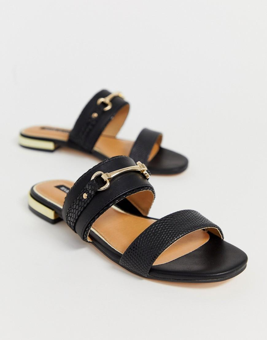 5c4313a4ed2 River Island Flat Mules With Gold Detail In Black in Black - Lyst