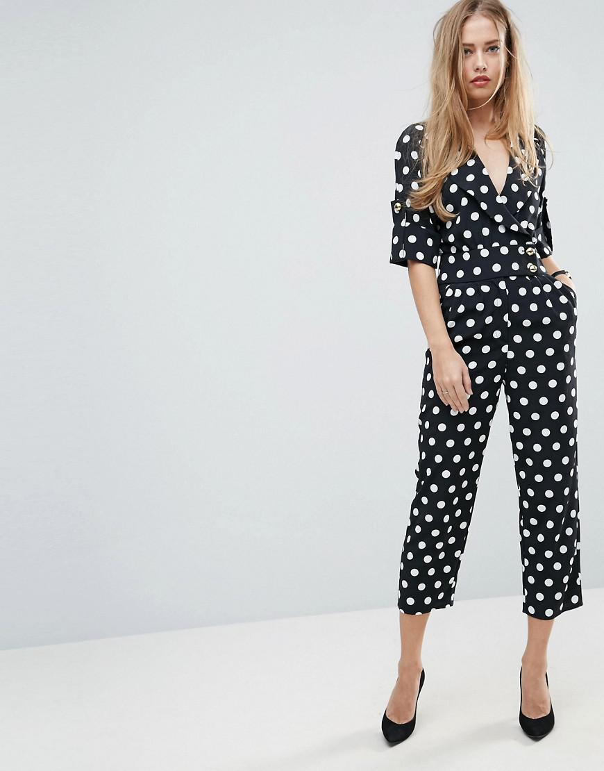 0d19f8ab429 Lyst - ASOS Soft Tux Jumpsuit In Spot Print in Black