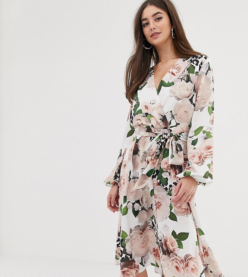 86df304e2e Flounce London. Women s Satin Wrap Midi Dress In Floral Print