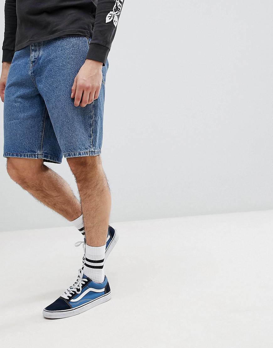 DESIGN Denim Shorts In Relaxed Fit Dark Wash Blue With Printed Stripe - Indigo Asos iijOk0z6cg