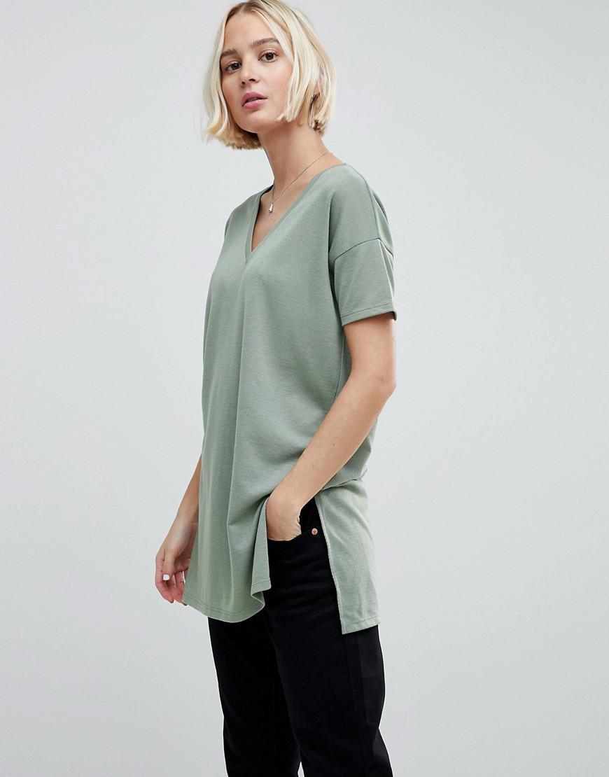 4c18b1d7729dd ASOS. Women's Green Oversized Longline T-shirt With V-neck In Lightweight  Rib