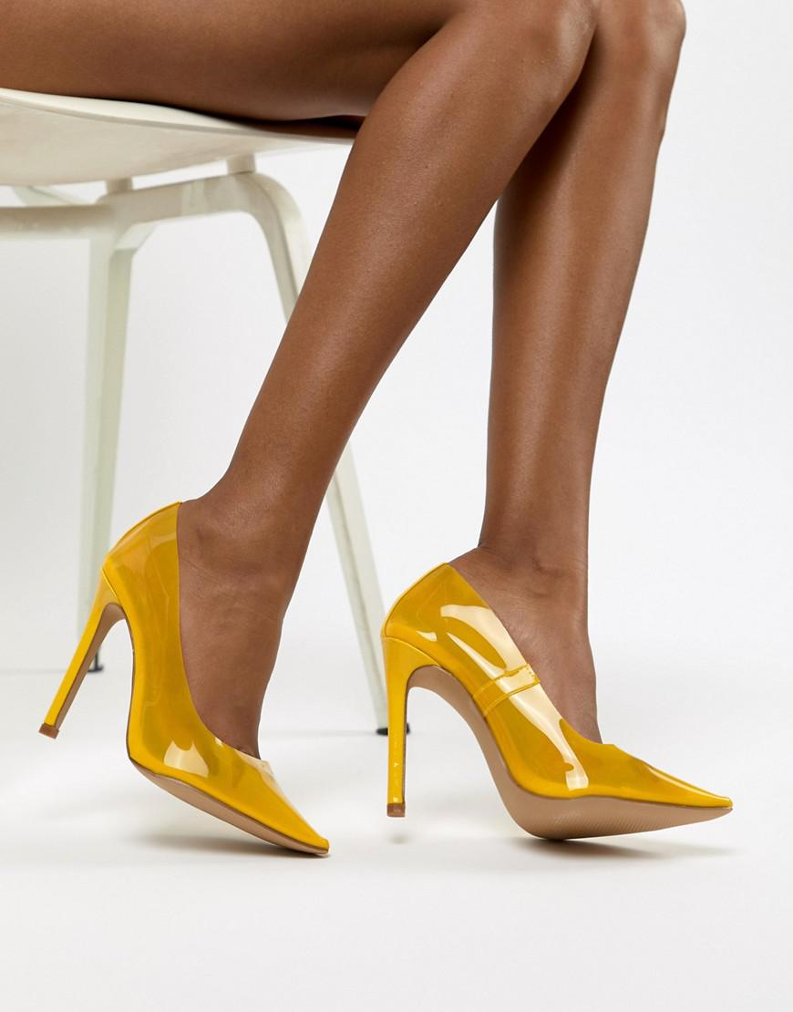 ad99b30b64e Lyst - Public Desire Extra Transparent Yellow Court Shoes in Yellow