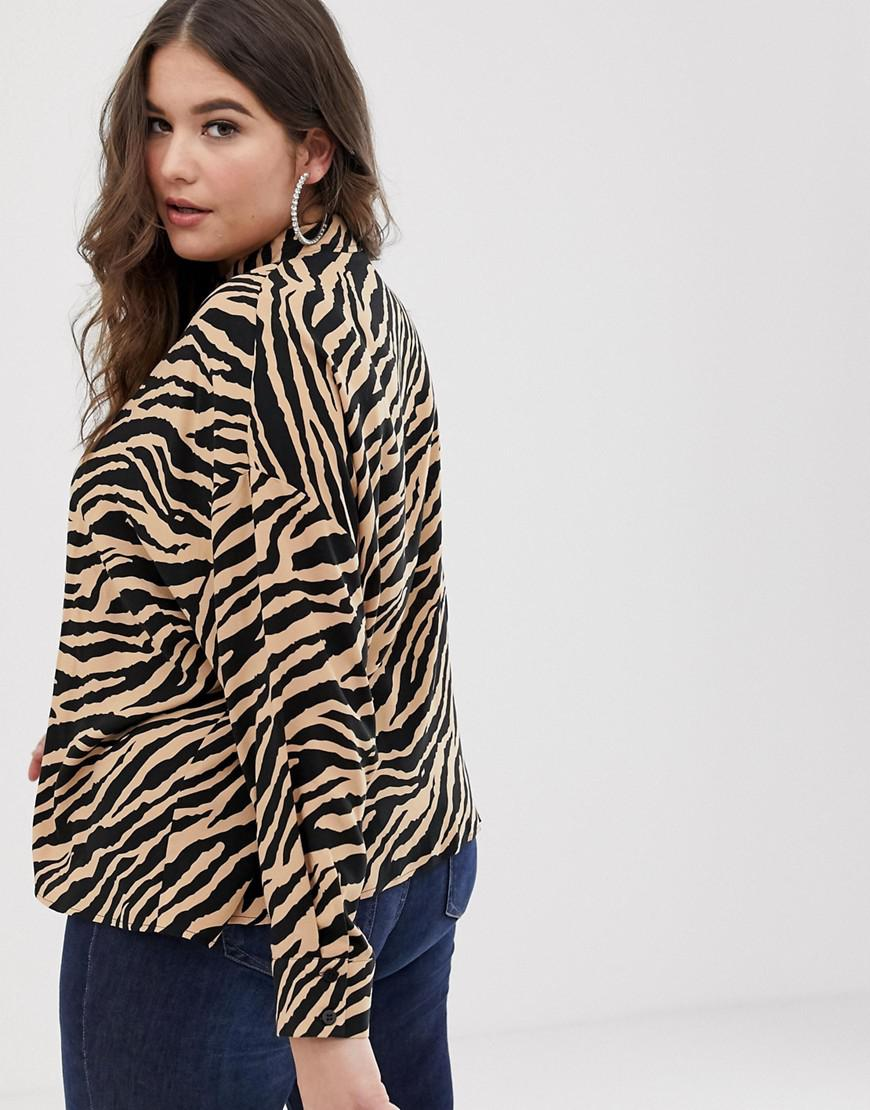 f00769caf5d Lyst - ASOS Asos Design Curve Cropped Long Sleeve Shirt In Tiger Animal  Print