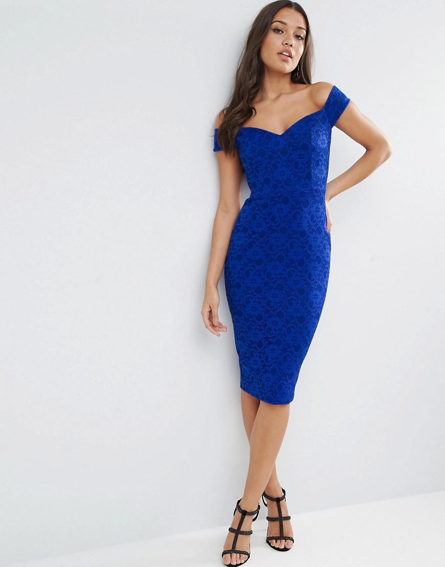 a47325770ba7 ASOS Lace Sweetheart Bardot Midi Bodycon Dress in Blue - Lyst