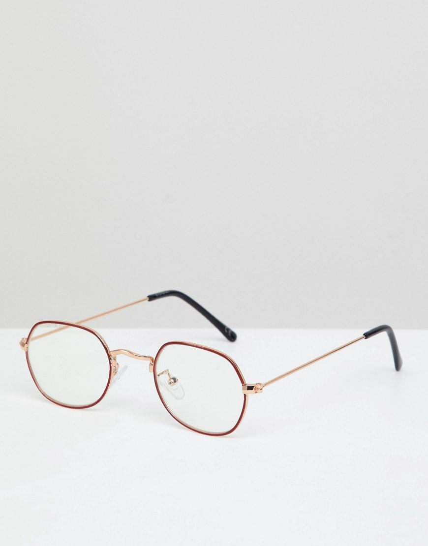 ce6f9c03a7 ASOS Angled Round Glasses In Gold With Red Edge Detail   Clear Lens ...