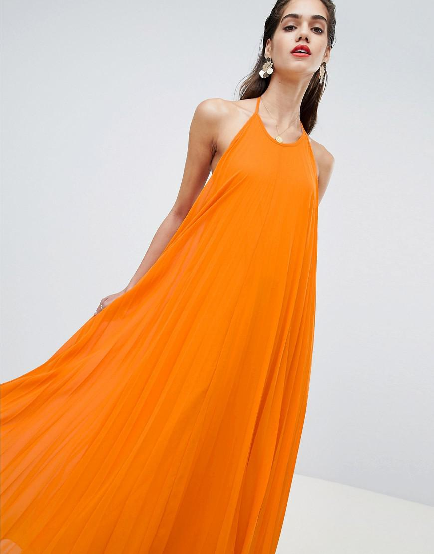 b286ee70d2 Lyst - Missguided Pleated Low Back Maxi Dress in Orange