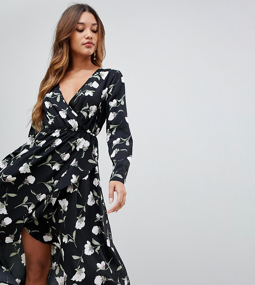 74836b5cb052 Boohoo Exclusive Ruffle Wrap Midi Dress In Floral in Black - Lyst