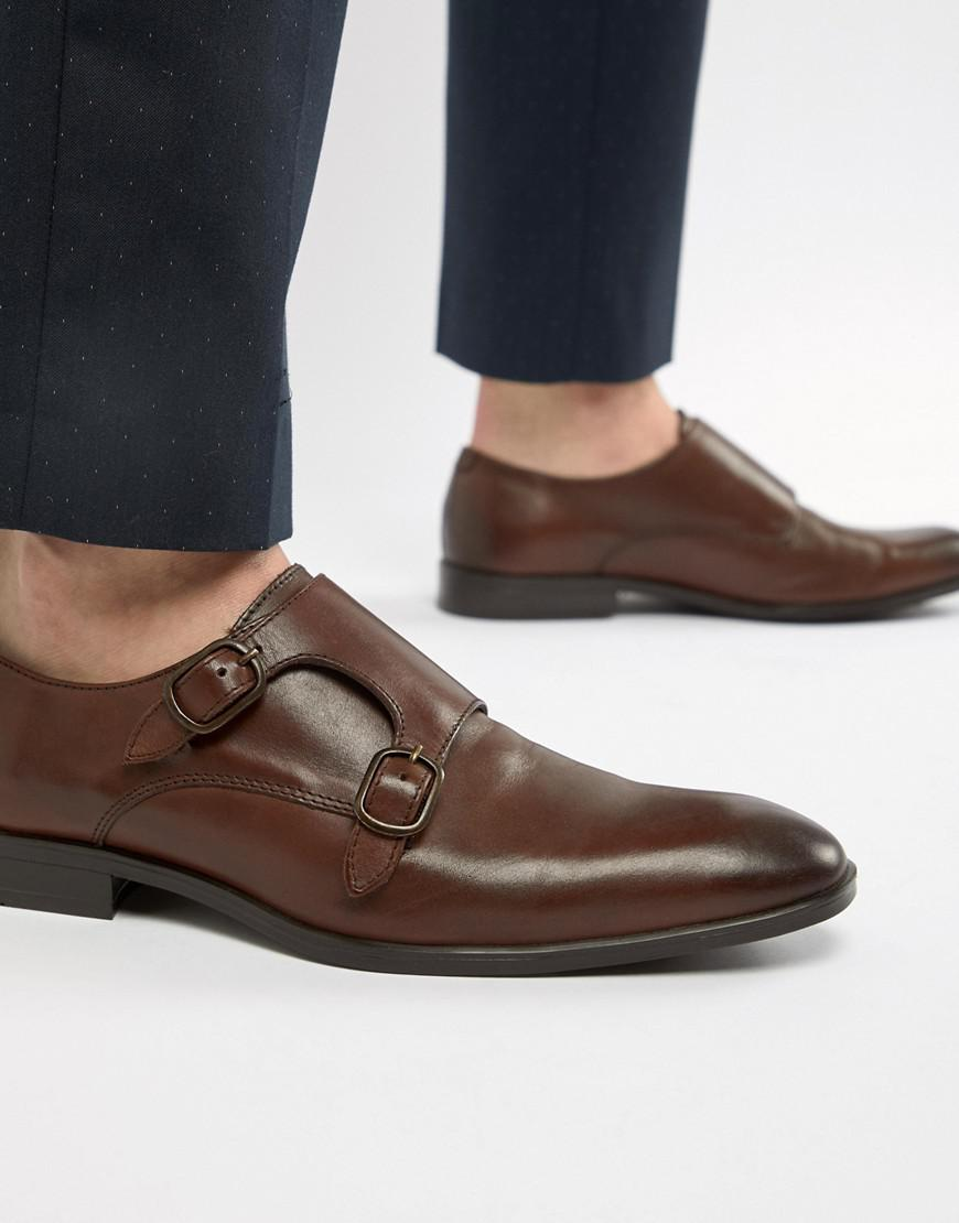 2f0746a433c3 ASOS Monk Shoes In Brown Leather in Brown for Men - Lyst