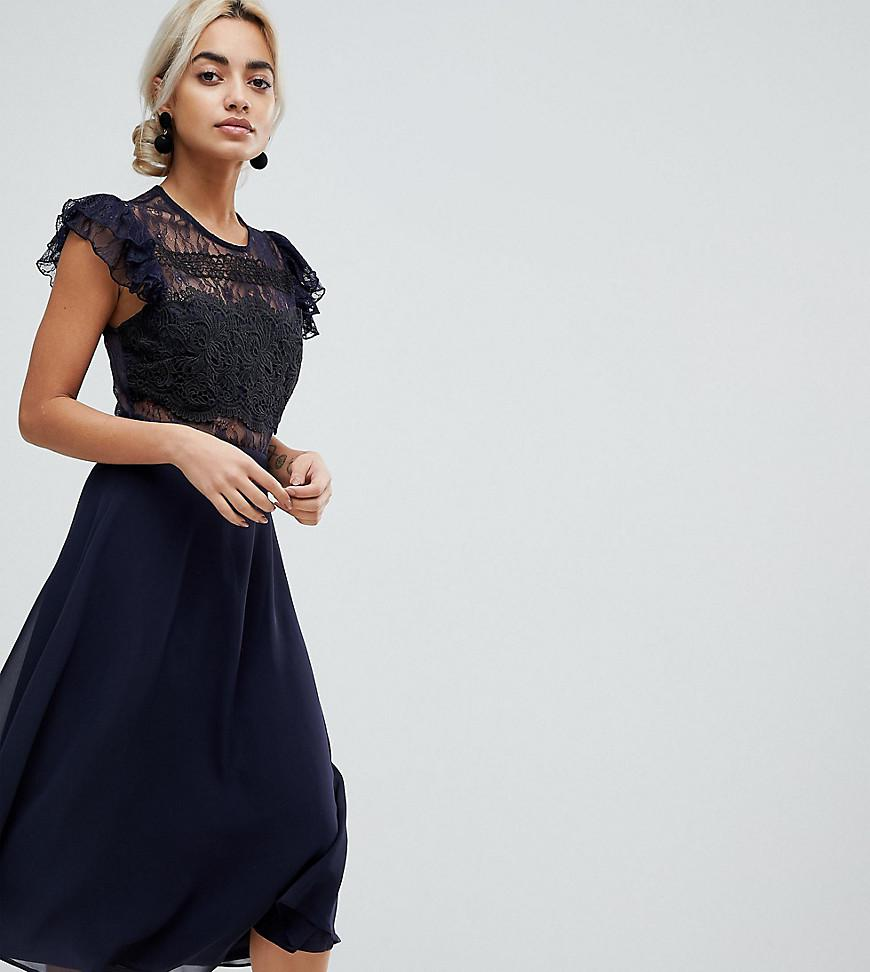 502ef1ce026 ASOS Lace Midi Dress With Lace Frill Sleeve in Blue - Lyst