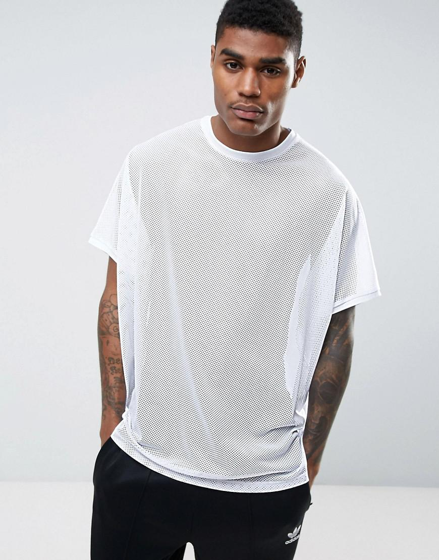 84b99a201a54 ASOS Extreme Oversized T-shirt In White Mesh in White for Men - Lyst