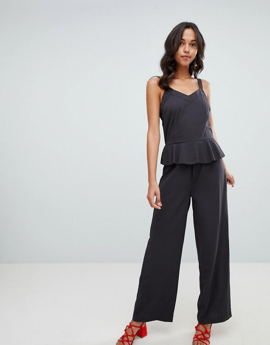 12ddb29677a7 Vila Cami Jumpsuit With Ruffle Detail in Black - Lyst