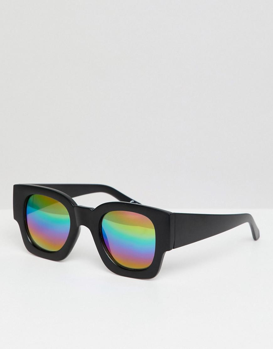 f09f3975e4b Lyst - ASOS Square Sunglasses In Black With Mirrored Rainbow Lens in ...