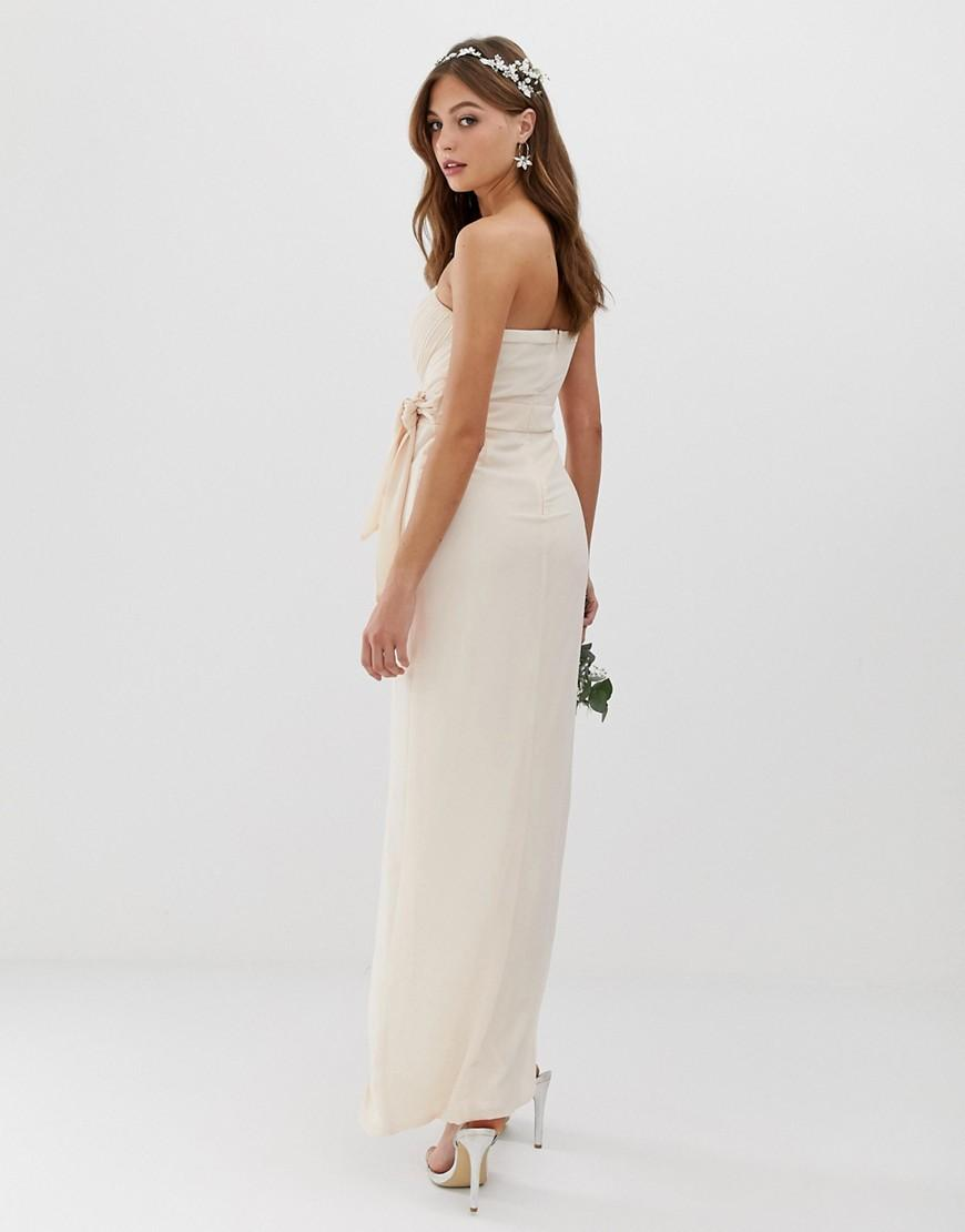 e5e41e5cd408 Lyst - TFNC London Bridesmaid Exclusive Bandeau Wrap Midaxi Dress With  Pleated Detail In Pink in Pink