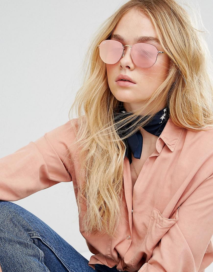 4c3cd0aca8f6a Ray-Ban Ray Ban Hexagonal Flat Lens Sunglasses In Pink Flash Lens in ...