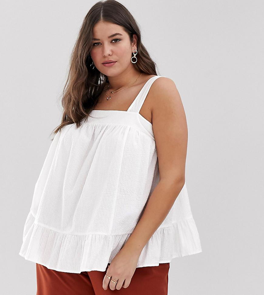9b11c81e33ff3 ASOS. Women s White Asos Design Curve Square Neck Cami In Seersucker Sun Top