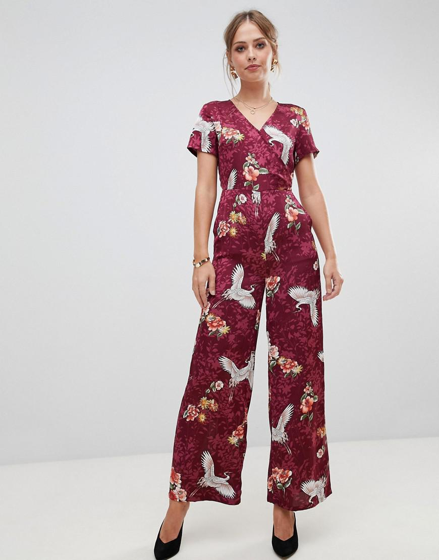 1be103e0306d Liquorish Floral And Bird Print Wide Leg Jumpsuit in Red - Lyst