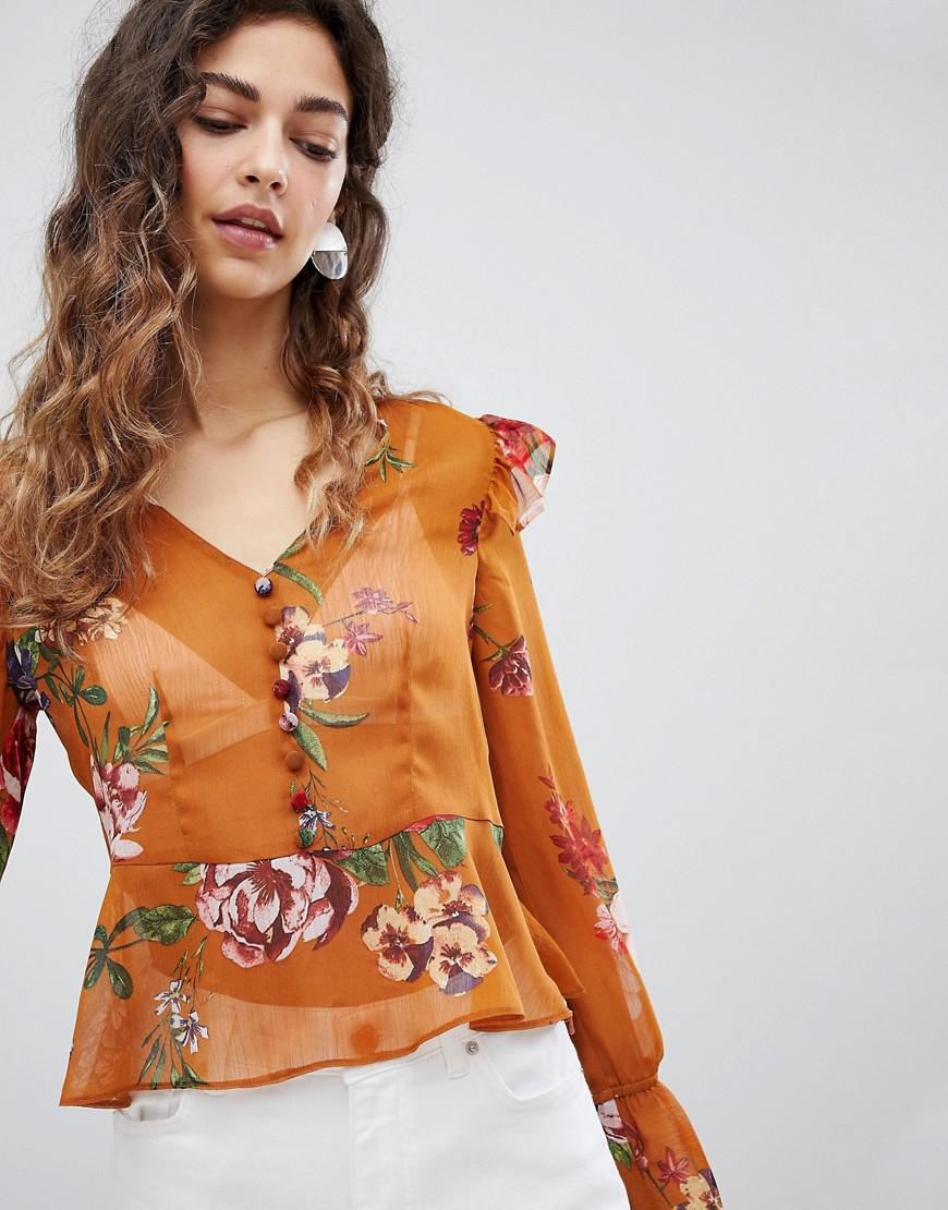 3337f95497380e Lyst - Miss Selfridge Floral Button Front Blouse in Orange