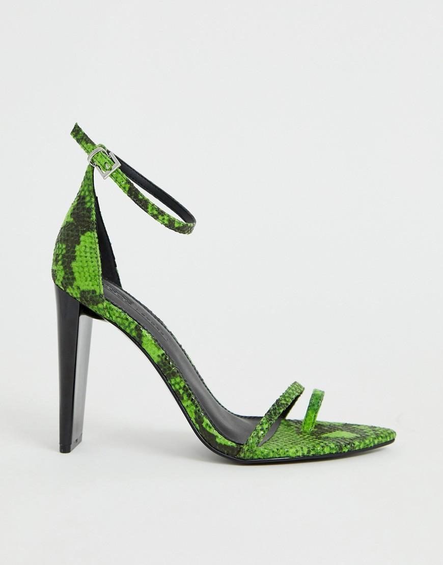 f60a488d2ca8 ASOS - Harper Barely There Heeled Sandals In Green Snake - Lyst. View  fullscreen