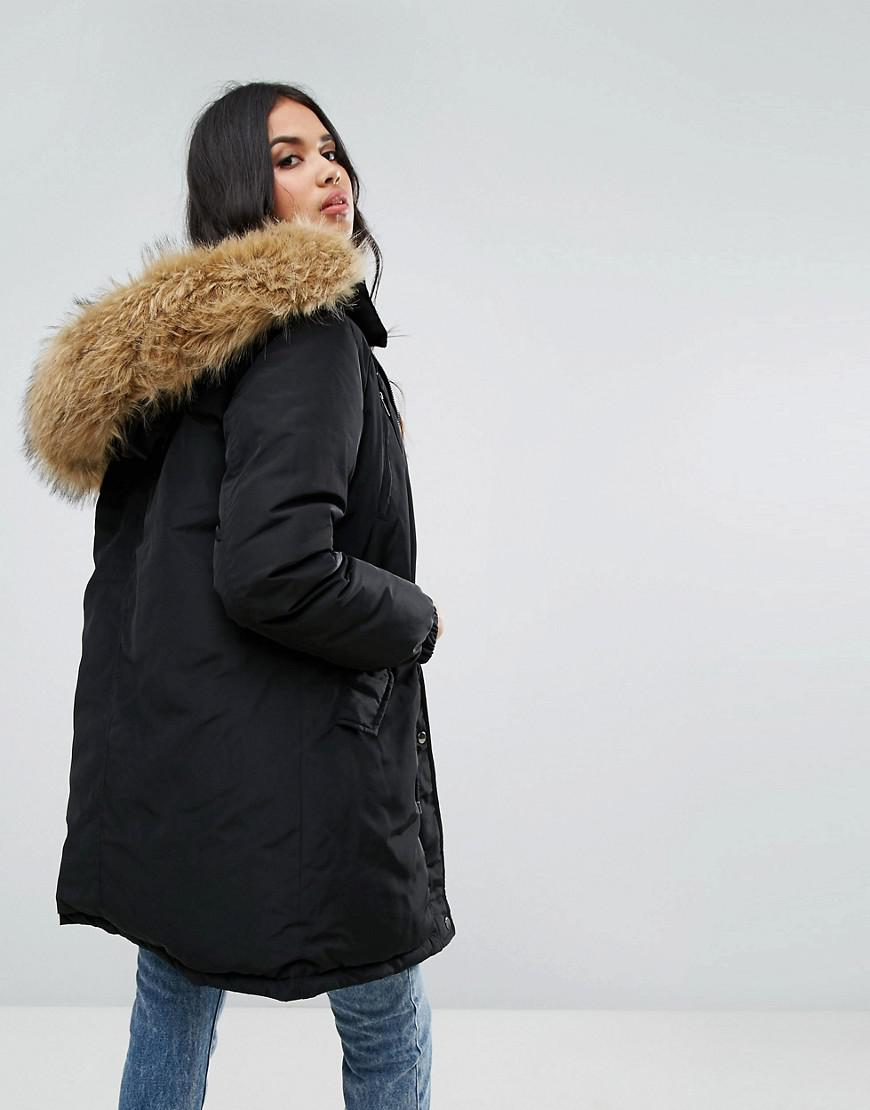 Boohoo Drawstring Parka With Faux Fur Hood in Black | Lyst