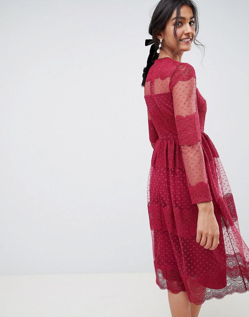 7c2c199169 Lyst - ASOS Premium Lace   Dobby Mesh Midi Dress With Long Sleeves in Red