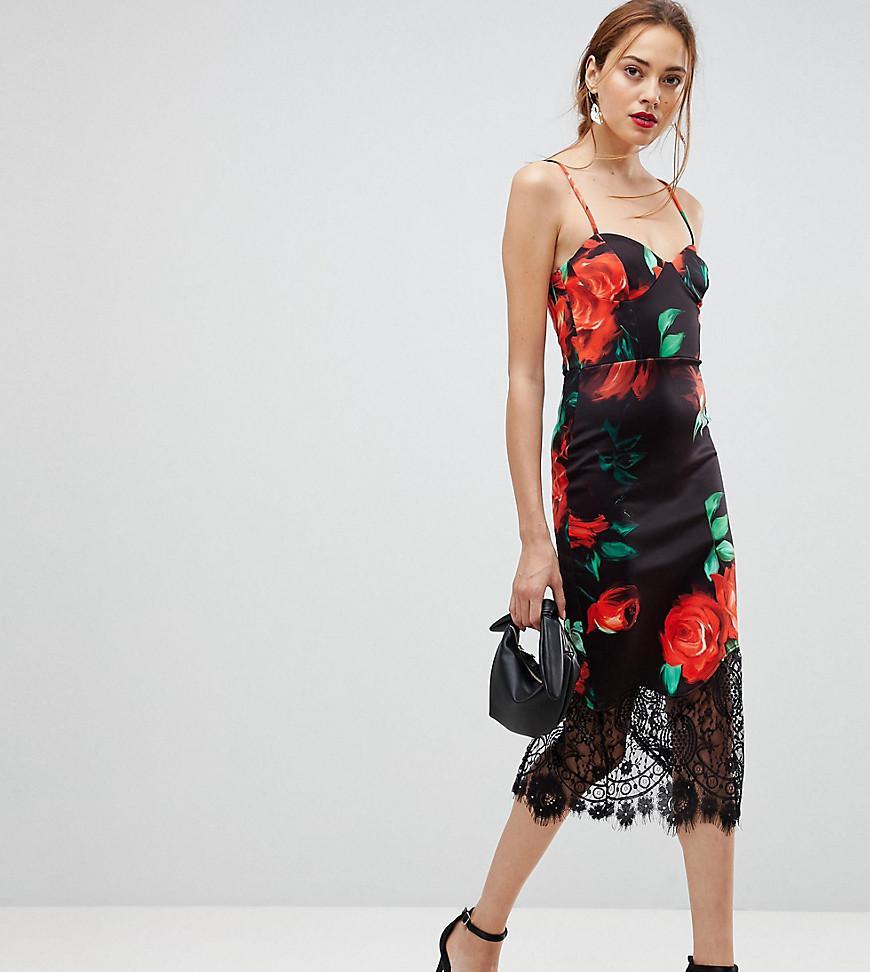 2c451fdf83ea ASOS. Women s Rose Print Lace Hem Cami Midi Bodycon Dress