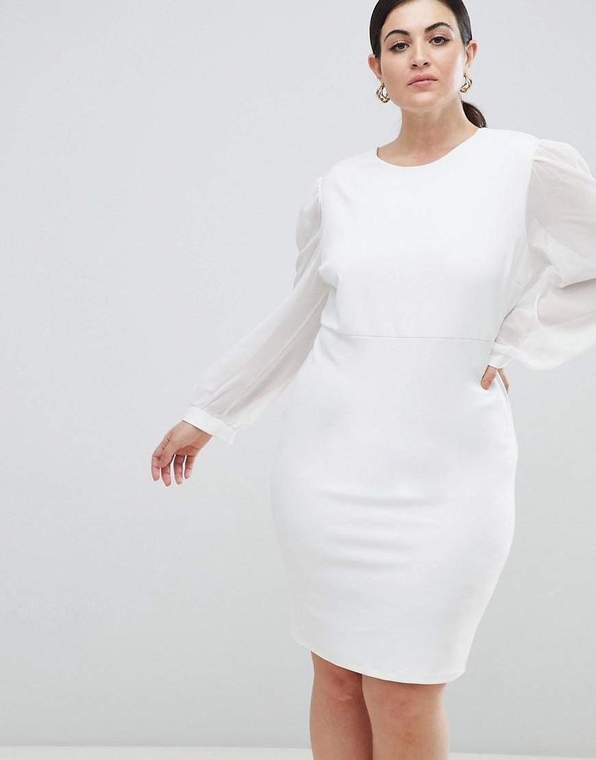 f99a0e593256 John Zack Open Back Bodycon Dress With Split Sleeve Detail in White ...
