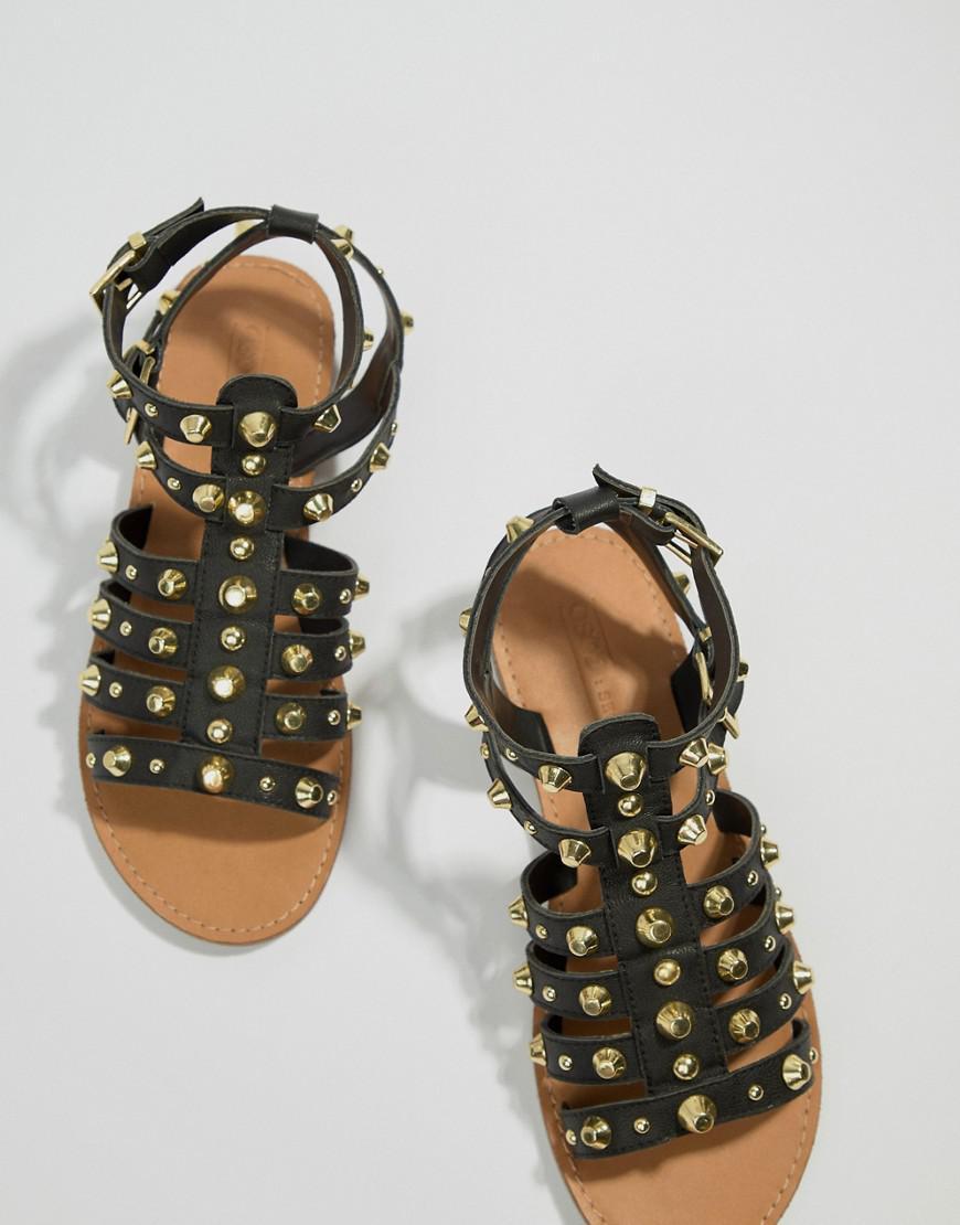 cf4741e2467 ASOS Flip Leather Gladiator Sandals in Black - Lyst