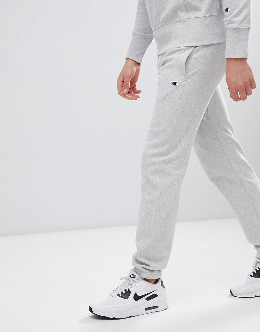 35f2bcbc0f3 Champion - Gray Reverse Weave Joggers With Small Logo Grey for Men - Lyst.  View fullscreen