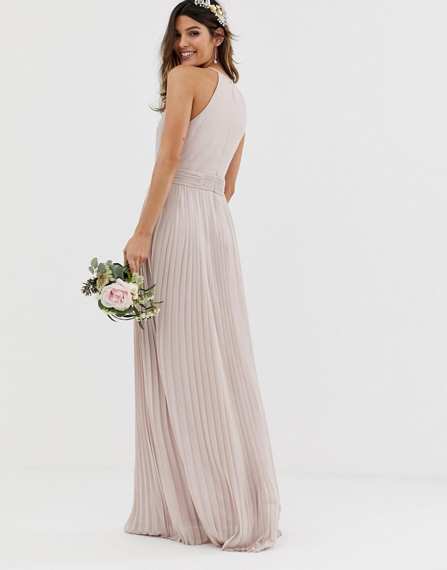 402d535ea6 TFNC London Bridesmaid Exclusive Pleated Maxi Dress In Taupe in Brown -  Save 20% - Lyst