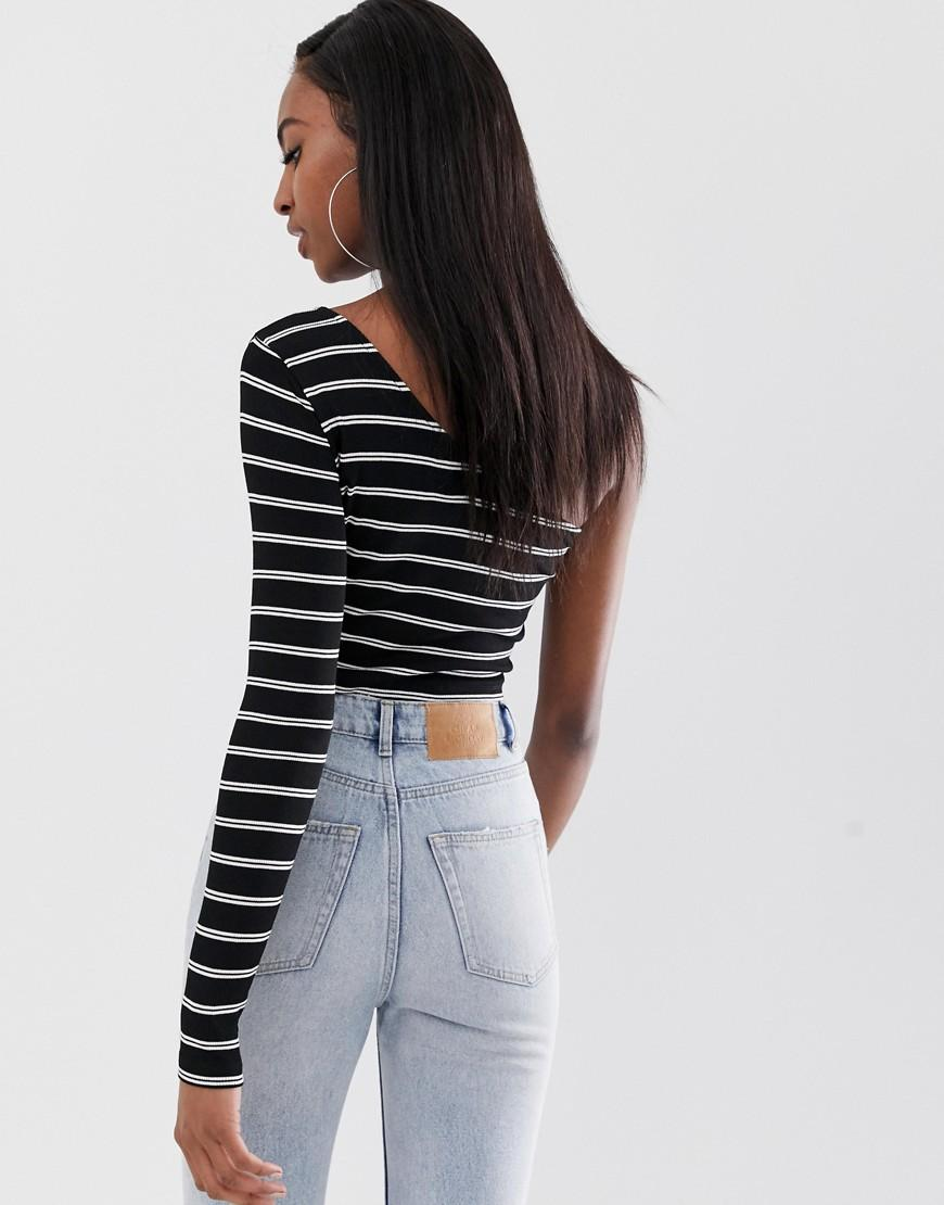6cd22ba2f03 ASOS Asos Design Petite One Shoulder Long Sleeve T-shirt In Stripe in Black  - Save 13% - Lyst