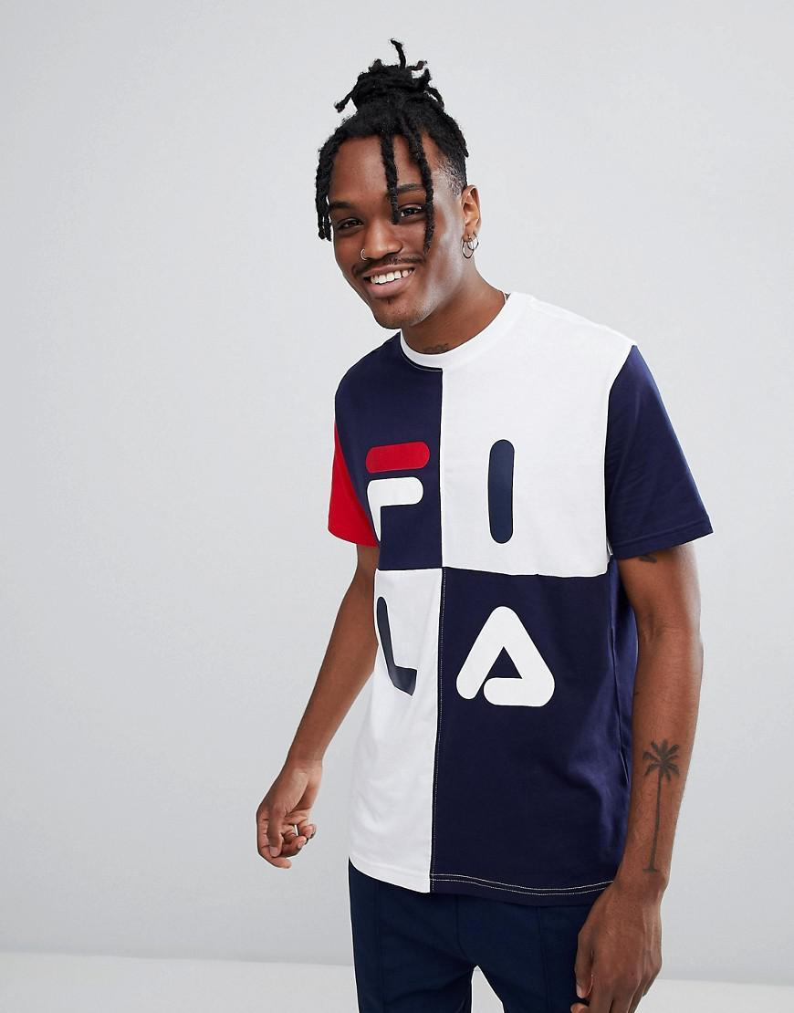51470b3d0878 Fila Black Line T-shirt With Grid Logo In Black in Blue for Men - Lyst