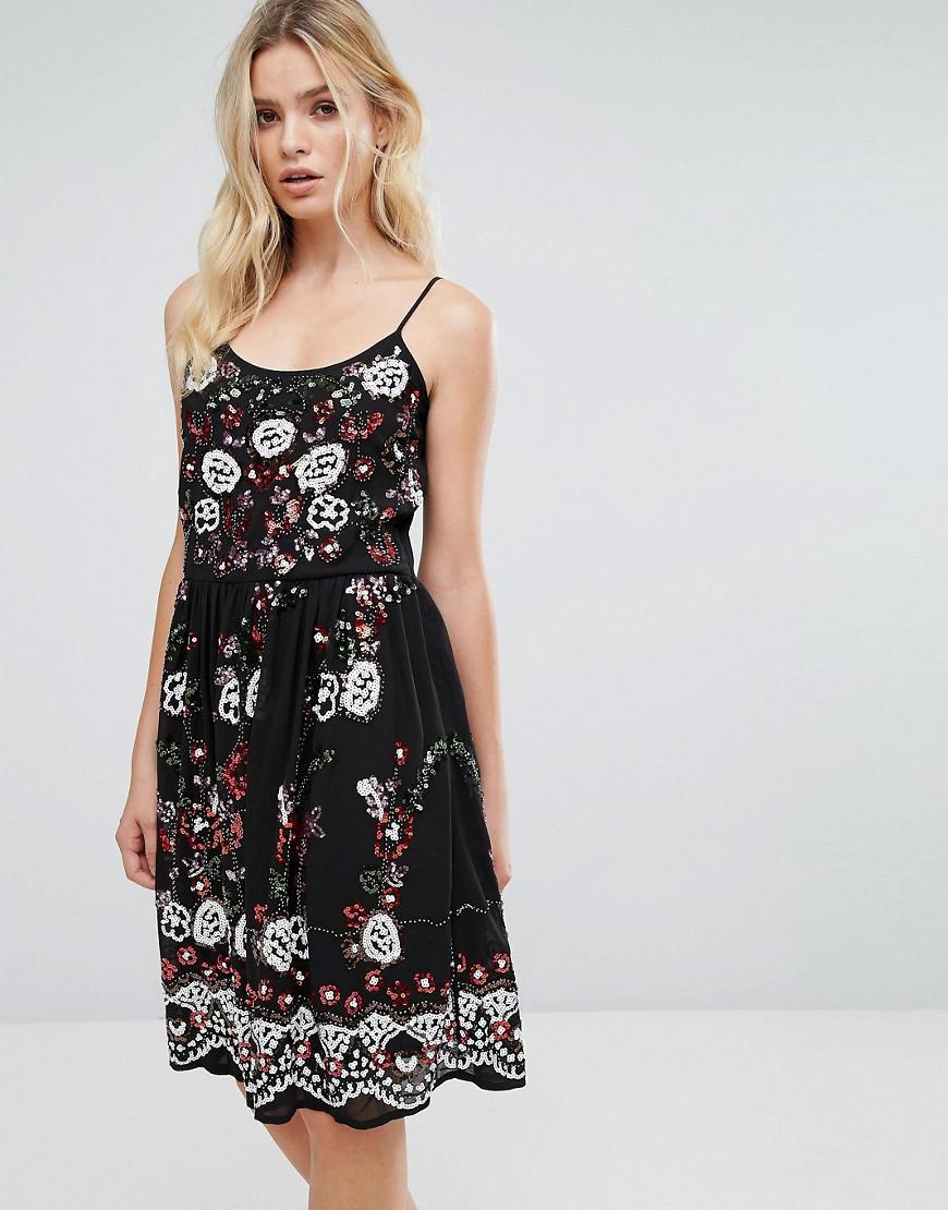 607b3681a394 Lyst - Amy Lynn Embroidered Cami Dress in Black