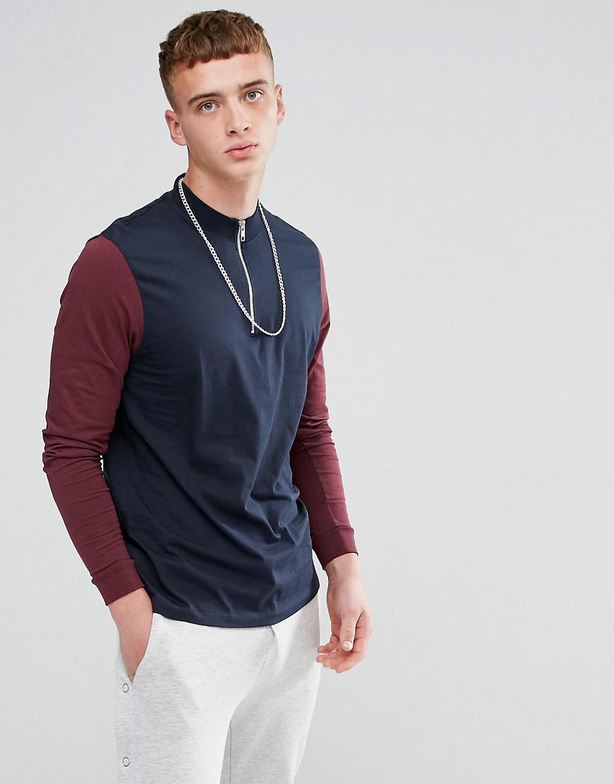 f17b6eddb9c88 ASOS. T-shirt dcontract manches longues avec col roul zipp homme de coloris  bleu