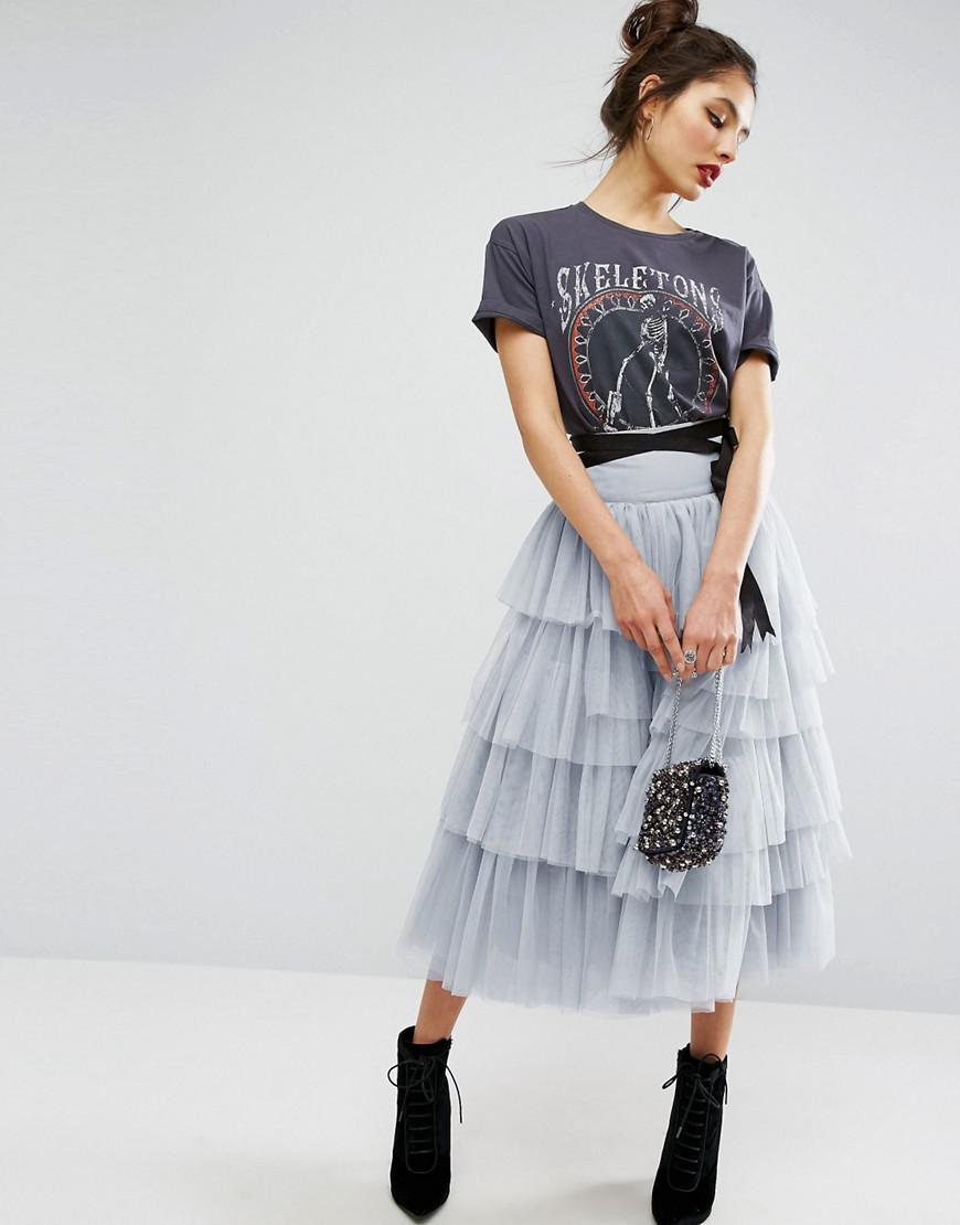 95818d33516 ASOS Asos Tulle Midi Prom Skirt With Tiers And Tie Waist in Gray - Lyst