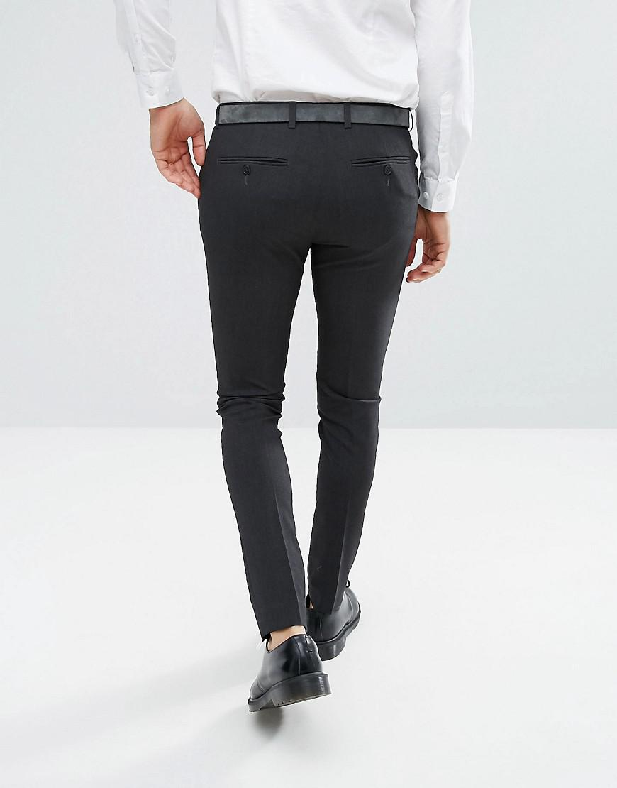 51608260686c ASOS Super Skinny Smart Trousers In Charcoal in Gray for Men - Lyst