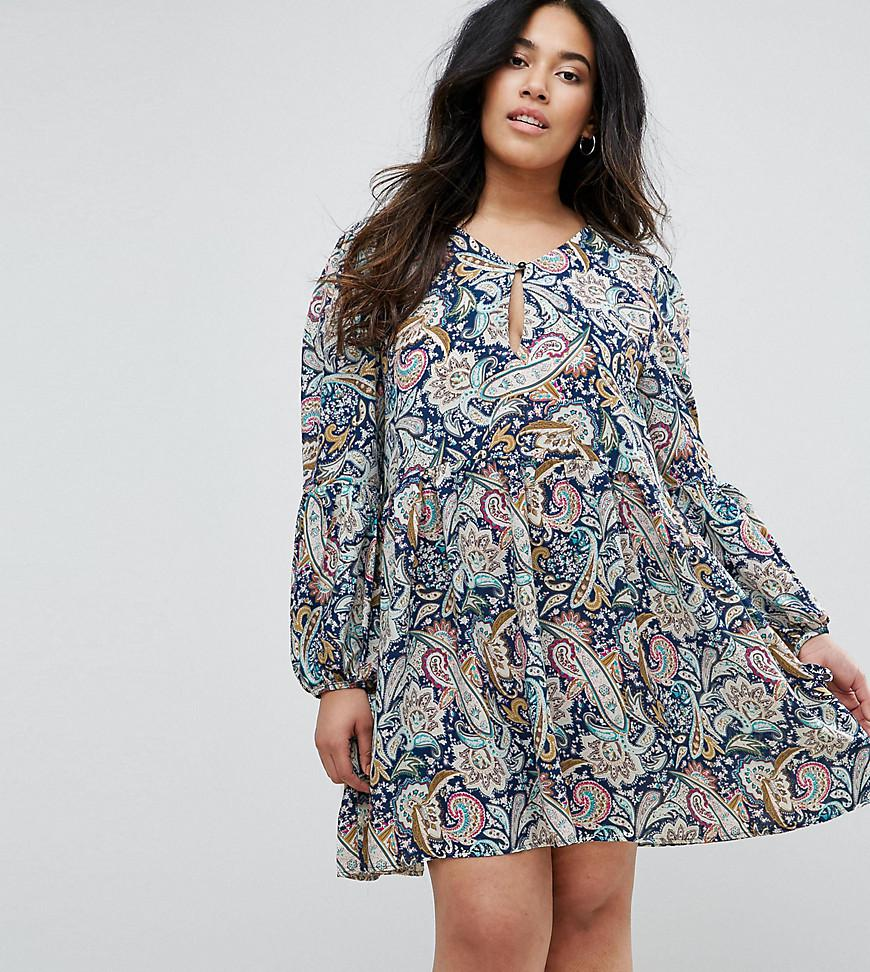 9a0313c231f6a Boohoo Paisley Balloon Sleeve Smock Dress in Blue - Lyst