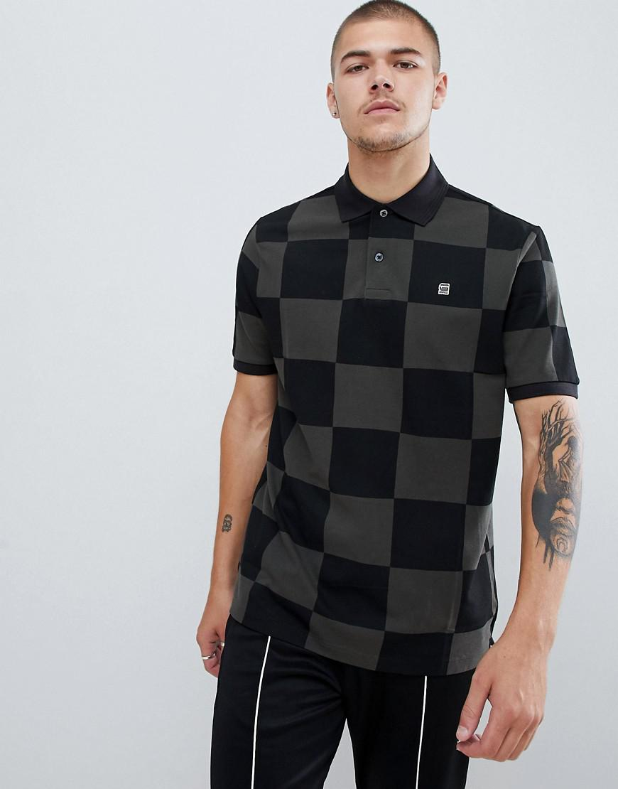 G-Star RAW Checkerboard Polo Shirt In Black in Black for Men - Save ... a96b6042c1d