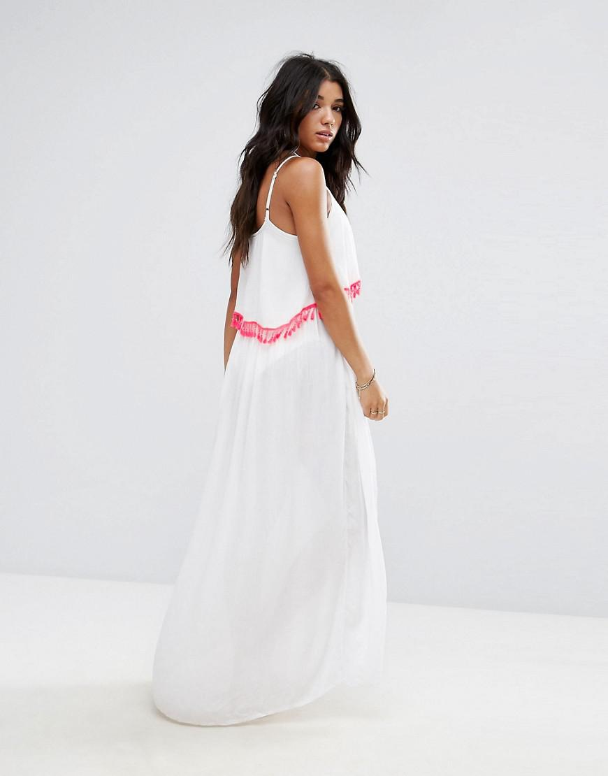 1b20eb6077 Akasa Tassel Trim Maxi Beach Dress in White - Lyst